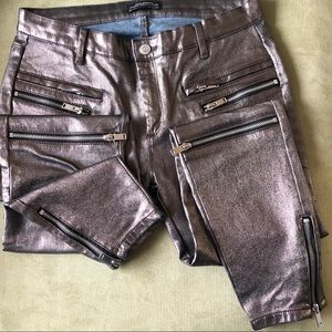 Zara 'Denim/leather' Moto Jeans with zippers